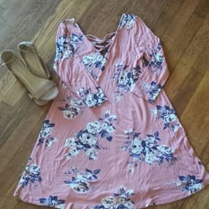 Rue 21 floral dress with criss cross front & back